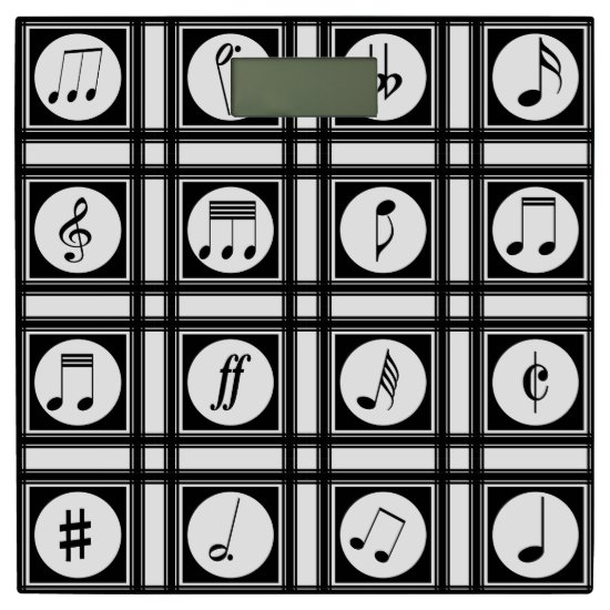 Stylish modern musical notes pattern bathroom scale