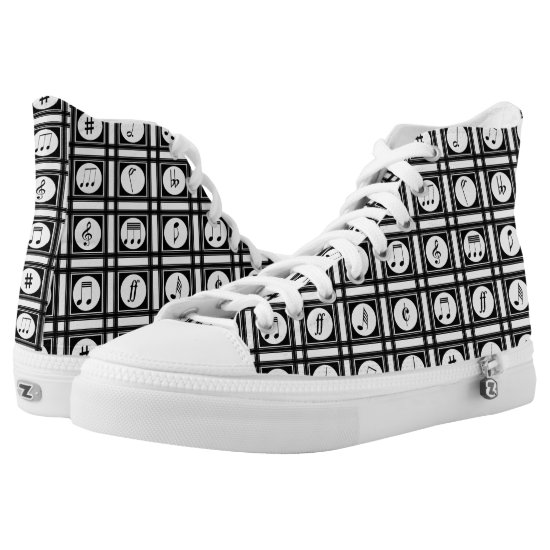 Stylish modern musical notes pattern High-Top sneakers