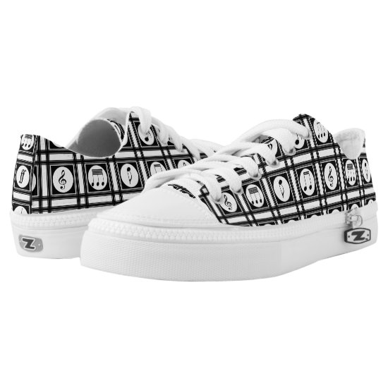 Stylish modern musical notes pattern Low-Top sneakers