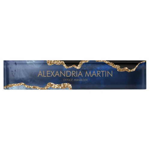 Stylish Modern Navy Blue Gold Glitter Office Desk Name Plate