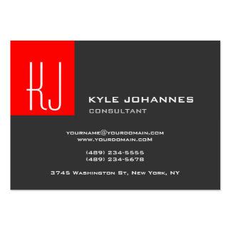 Stylish Modern Plain Monogram Grey Red Large Business Card