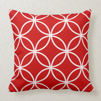 Stylish Modern Red and White Tiled pattern Throw Pillow