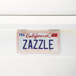 Stylish modern rose gold ombre pink block license plate frame