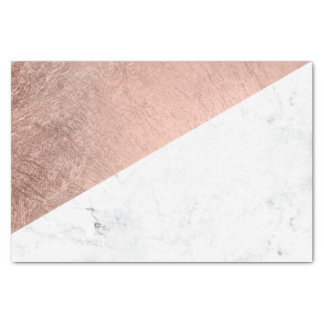"Stylish modern rose gold white marble color block 10"" x 15"" tissue paper"