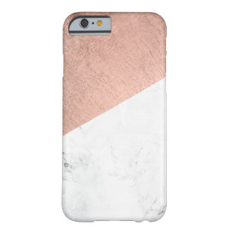 Stylish modern rose gold white marble color block barely there iPhone 6 case