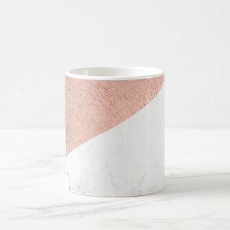 Stylish modern rose gold white marble color block coffee mug