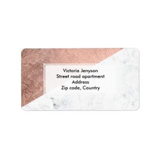 Stylish modern rose gold white marble color block label