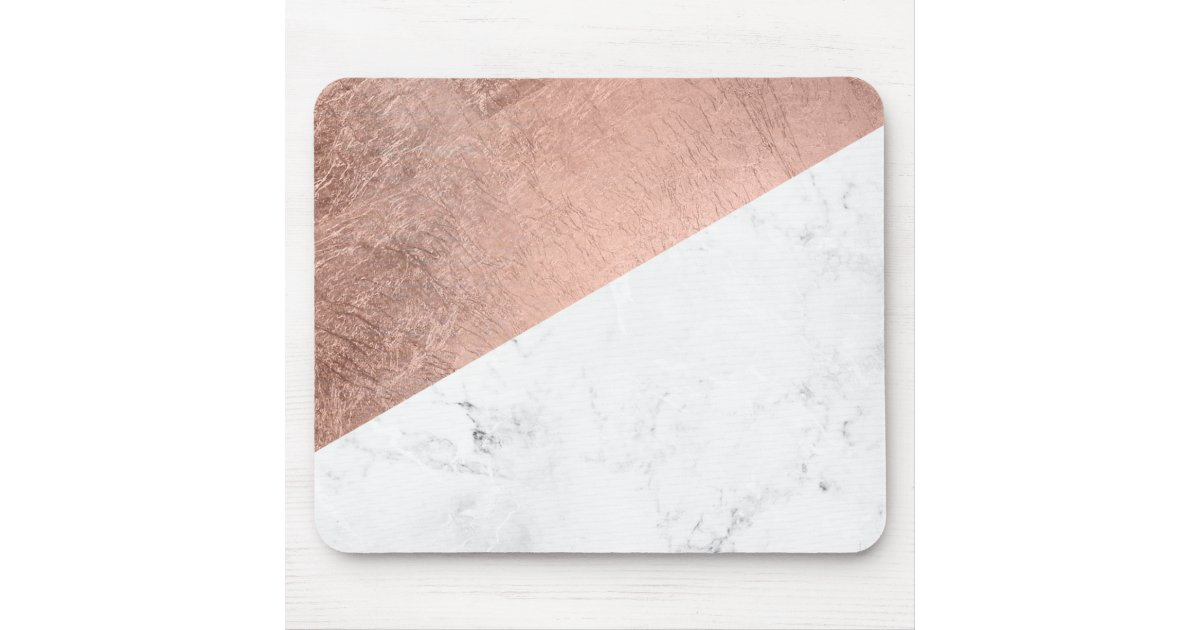Stylish Modern Rose Gold White Marble Color Block Mouse