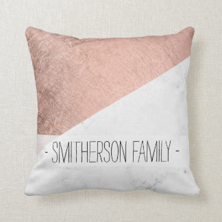 Stylish modern rose gold white marble color block throw pillow