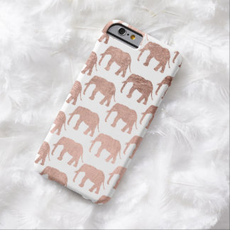 Stylish modern rose gold wild elephants pattern barely there iPhone 6 case
