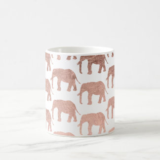 Stylish modern rose gold wild elephants pattern coffee mug