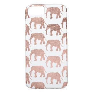 Stylish modern rose gold wild elephants pattern iPhone 7 case