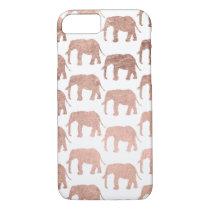 Stylish modern rose gold wild elephants pattern iPhone 8/7 case