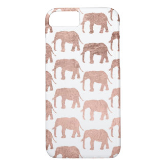 Stylish modern rose gold wild elephants pattern iPhone 8/7 case