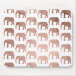 Stylish modern rose gold wild elephants pattern mouse pad