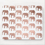 "Stylish modern rose gold wild elephants pattern mouse pad<br><div class=""desc"">A simple,  stylish and modern animal pattern featuring faux rose gold foil wild elephants silhouette on a fully customizable color background.</div>"