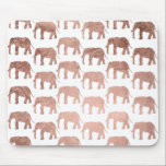 """Stylish modern rose gold wild elephants pattern mouse pad<br><div class=""""desc"""">A simple,  stylish and modern animal pattern featuring faux rose gold foil wild elephants silhouette on a fully customizable color background.</div>"""