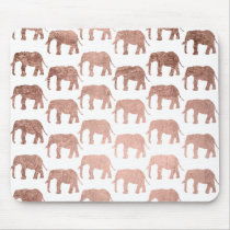 Stylish modern rose gold wild elephants pattern mouse pad
