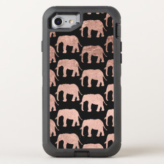Stylish modern rose gold wild elephants pattern OtterBox defender iPhone 8/7 case