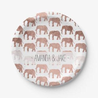 Stylish modern rose gold wild elephants pattern paper plate