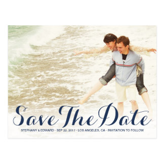 Stylish Modern Save The Date Custom Photo Postcard