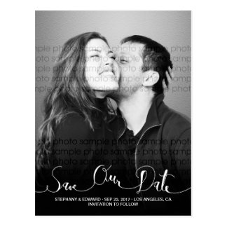 Stylish Modern Script Save Our Date Photo Postcard