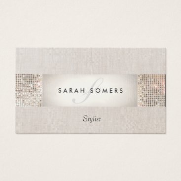 sm_business_cards Stylish Modern Silver Sequin Monogram Beauty Business Card