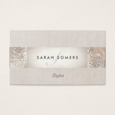 Stylish Modern Silver Sequin Monogram Beauty Business Card at Zazzle