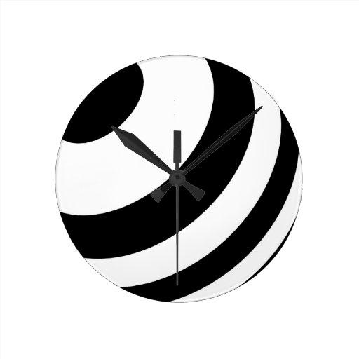 Stylish modern striped 3d ripple design round wall clock