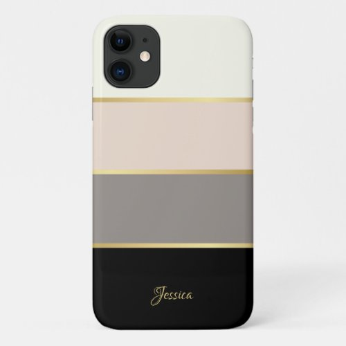 Stylish Modern Stripes Pattern with Name Phone Case