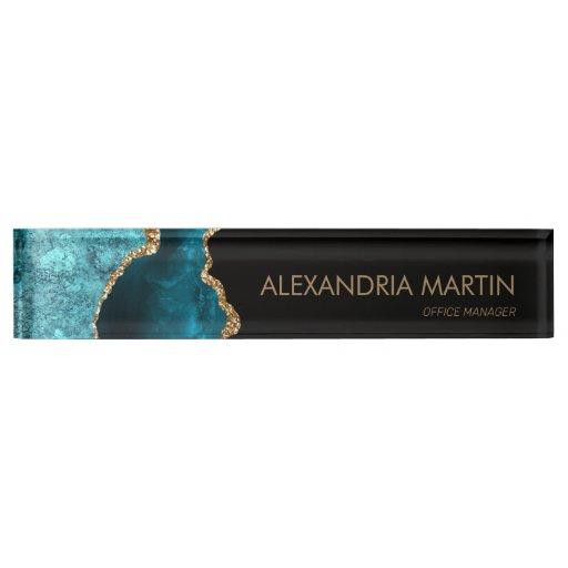 Stylish Modern Teal Black Gold Glitter  Desk Name Plate