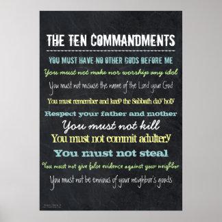 Stylish Modern Ten Commandments Sign Poster