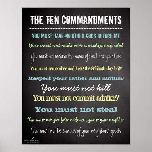 Stylish Modern Ten Commandments Sign Posters