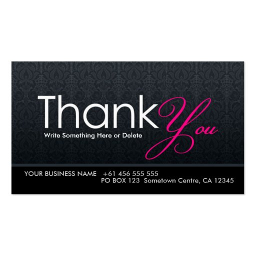 Stylish modern thank you business card zazzle for Thank you card for business