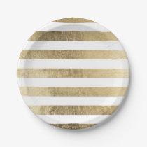 Stylish modern trendy faux gold foil stripes paper plate