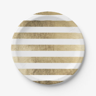 Stylish modern trendy faux gold foil stripes paper plate