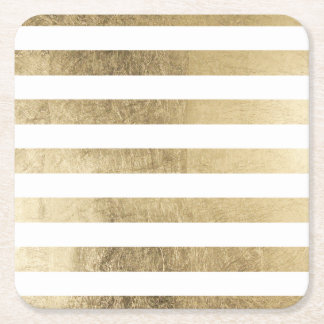 Stylish modern trendy faux gold foil stripes square paper coaster