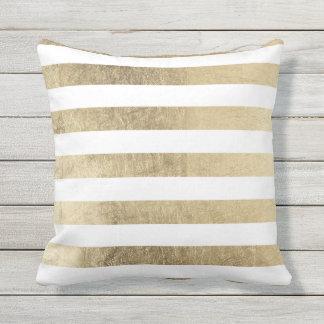 Stylish modern trendy faux gold foil stripes throw pillow