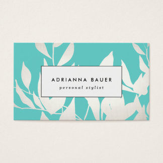 Stylish Modern White and Turquoise Leaves Pattern Business Card