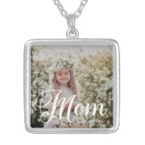 Stylish Mom Typography Photo and Name Necklace