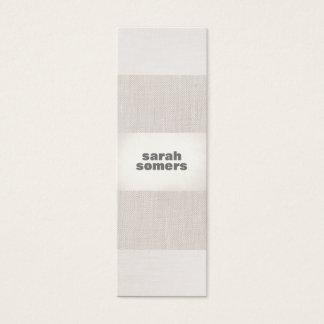 Stylish Monochromatic Beige Linen Silver Striped Mini Business Card