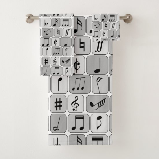 Stylish Monochrome Geometric Music Notes Pattern Bath Towel Set