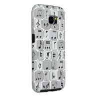 Stylish Monochrome Geometric Music Notes Pattern Samsung Galaxy S6 Cases