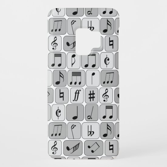 Stylish Monochrome Geometric Music Notes Pattern Case-Mate Samsung Galaxy S9 Case