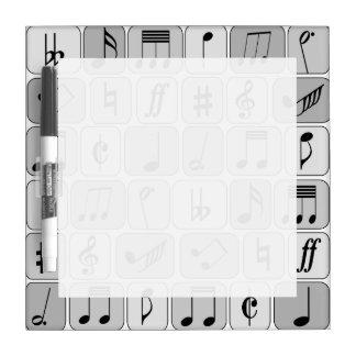 Stylish Monochrome Geometric Music Notes Pattern Dry-Erase Boards
