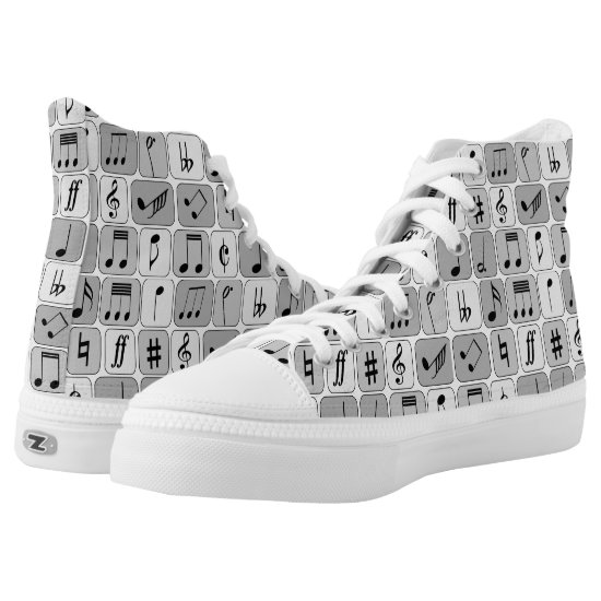 Stylish Monochrome Geometric Music Notes Pattern High-Top Sneakers