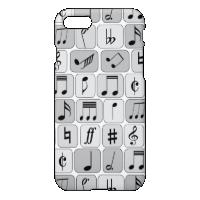 Stylish Monochrome Geometric Music Notes Pattern iPhone 7 Case