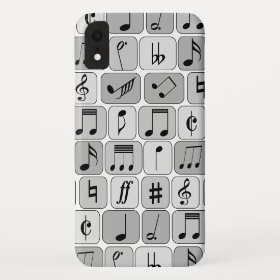 Stylish Monochrome Geometric Music Notes Pattern iPhone XR Case
