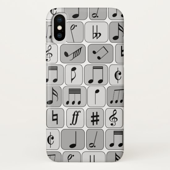 Stylish Monochrome Geometric Music Notes Pattern iPhone XS Case