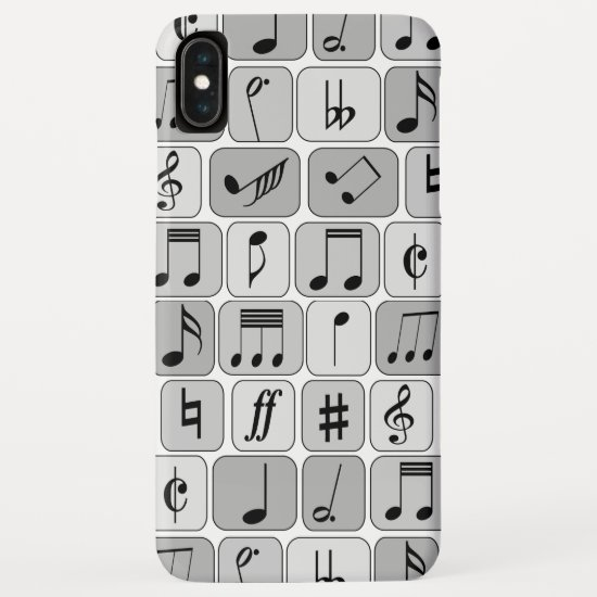 Stylish Monochrome Geometric Music Notes Pattern iPhone XS Max Case